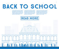 Outline Back to School. Banner with School Bus, Building and Stu Stock Photos