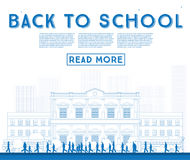 Outline Back to School. Banner with School Bus, Building and Stu Royalty Free Stock Photo