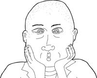 Outline of Bald Surprised Woman Stock Images