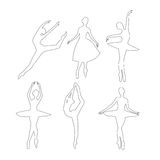 Outline Ballerinas vector set Royalty Free Stock Photography