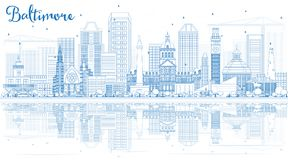 Outline Baltimore Skyline with Blue Buildings and Reflections. Vector Illustration. Business Travel and Tourism Concept with Modern Architecture Royalty Free Stock Photography