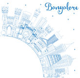 Outline Bangalore Skyline with Blue Buildings and Copy Space. Royalty Free Stock Photos