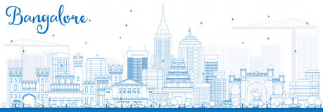 Outline Bangalore Skyline with Blue Buildings. Stock Photos