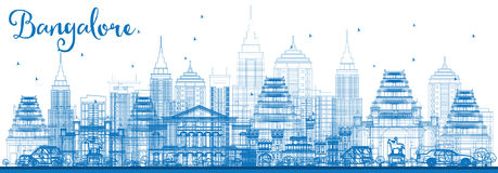 Outline Bangalore Skyline with Blue Buildings. Stock Image