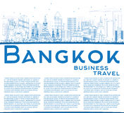 Outline Bangkok Skyline with Blue Landmarks and Copy Space. Royalty Free Stock Photography
