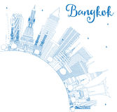 Outline Bangkok Skyline with Blue Landmarks and Copy Space. Vector Illustration. Business Travel and Tourism Concept with Bangkok City. Image for Presentation Royalty Free Stock Images