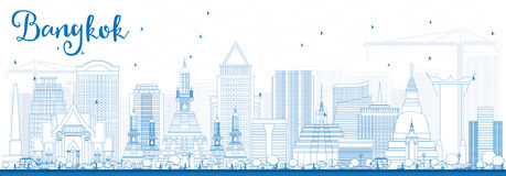 Outline Bangkok Skyline with Blue Landmarks. Royalty Free Stock Photography