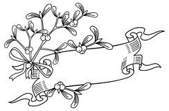Outline banner with mistletoe branch. Copy space.  Raster clip art Royalty Free Stock Image