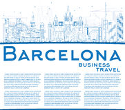 Outline Barcelona Skyline with Blue Buildings and Copy Space. Stock Images