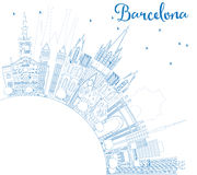Outline Barcelona Skyline with Blue Buildings and Copy Space. Stock Photography