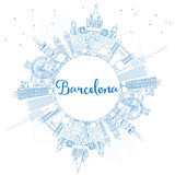Outline Barcelona Skyline with Blue Buildings and Copy Space. Stock Image