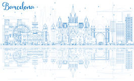 Outline Barcelona Skyline with Blue Buildings and Reflections. Royalty Free Stock Photography