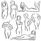 Outline beautiful woman vector silhouettes. Line female body beauty symbols. Sketch of woman model posing, figure girl sexy illustration Royalty Free Stock Photo