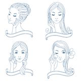 Outline beauty girls set with banners Stock Image