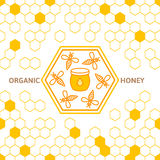 Outline bee symbol and seamless background with honeycombs. Organic honey linear logo, label, tags design elements. Concept for honey package, banner, wrapping Stock Illustration