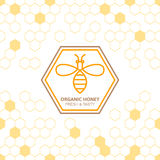 Outline bee vector symbol and seamless background with honeycombs. Organic honey linear logo, label, tags design elements. Concept for honey package, banner Royalty Free Illustration