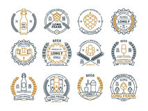 Outline beer emblems, symbols, icons, pub labels, badges collection. Outline beer emblems, symbols, pub labels, badges collection Royalty Free Stock Photography