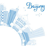Outline Beijing Skyline with Blue Buildings and Copy Space. Stock Image