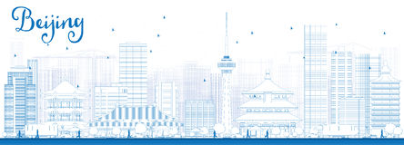 Outline Beijing Skyline with Blue Buildings. Royalty Free Stock Image