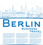 Outline Berlin skyline with blue building and copy space Stock Images