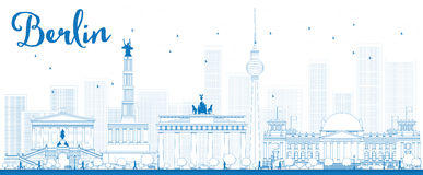 Outline Berlin skyline with blue building Royalty Free Stock Photos