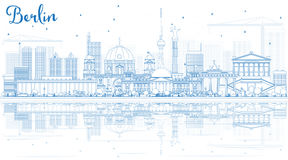 Outline Berlin Skyline with Blue Buildings and Reflections. Royalty Free Stock Photography