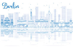 Outline Berlin skyline with blue buildings and reflections. Vector illustration. Business travel and tourism concept with place for text. Image for stock illustration