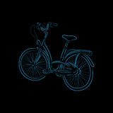 Outline of bicycle, vector illustration. Colored otline of bicycle isolated on black background. Hand-drawn sketch. Art vector illustration for your design Stock Photos