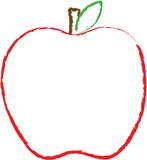 Outline of a big red apple