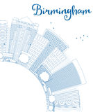 Outline Birmingham (Alabama) Skyline with Blue Buildings Royalty Free Stock Photography