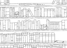 Outline of Bizarre Bookshelf. Outline cartoon of strange bookends in bookshelf Stock Image