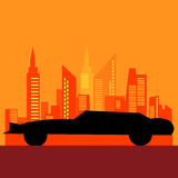 Outline black car and city backdrop modern vintage Royalty Free Stock Photo