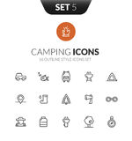 Outline black icons set in thin modern design style. Flat line stroke vector symbols - camping collection Royalty Free Stock Images