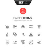 Outline black icons set in thin modern design style Royalty Free Stock Image