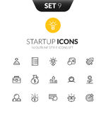 Outline black icons set in thin modern design style Royalty Free Stock Photo