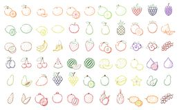 Outline Black linear web icon set - Fruit, berries Thin bold Lin Stock Images
