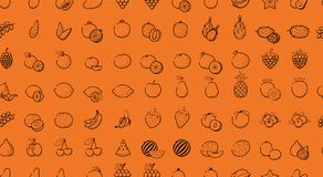 Outline Black linear web icon set - Fruit, berries Thin bold Lin Royalty Free Stock Photo