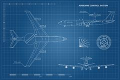 Outline blueprint of military aircraft. Top, front and side view. Army airplane with airborne warning and control system. Outline blueprint of military aircraft Royalty Free Stock Photography