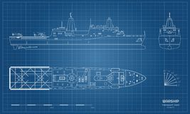 Free Outline Blueprint Of Military Ship. Top, Front And Side View. Battleship Model. Industrial Isolated Drawing Of Boat Royalty Free Stock Images - 138003339