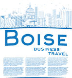 Outline Boise Skyline with Blue Building and copy space Stock Photography