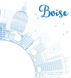 Outline Boise Skyline with Blue Building and copy space Stock Image
