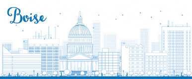 Outline Boise Skyline with Blue Building Royalty Free Stock Photos