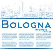 Outline Bologna Skyline with Blue Landmarks and Copy Space. Royalty Free Stock Images