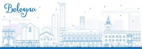 Outline Bologna Skyline with Blue Landmarks. Stock Photo