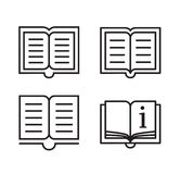 Outline book icons. Linear style icons of four books stock illustration