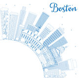 Outline Boston Skyline with Blue Buildings and Copy Space. stock illustration