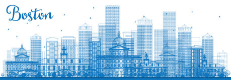 Outline Boston Skyline with Blue Buildings. Vector Illustration. Business Travel and Tourism Concept with Modern Architecture. Image for Presentation Banner Royalty Free Stock Photo