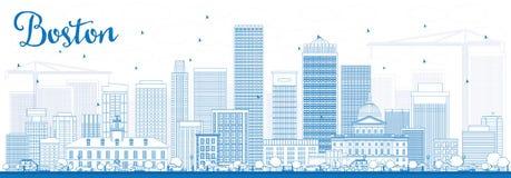 Outline Boston Skyline with Blue Buildings. stock illustration