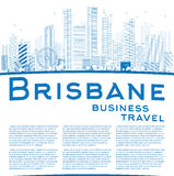 Outline Brisbane skyline with blue building and copy space Stock Image