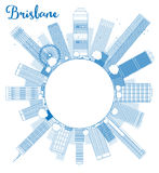 Outline Brisbane skyline with blue building and copy space. Vector illustration Royalty Free Stock Images